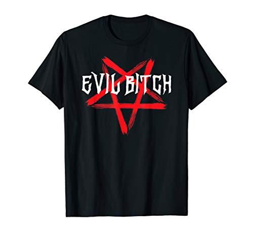 Evil Bitch Pentagram Satanic Metal Witch Punk Goth T-Shirt