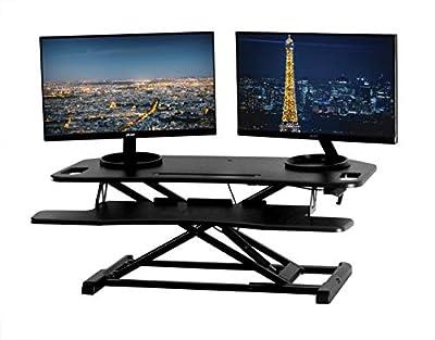 """TechOrbits Height Adjustable Stand Up Desk - 37"""" Corner Standing Desk Riser - Desktop Sit Stand Desk Fits Cubicles and Corner Desks"""