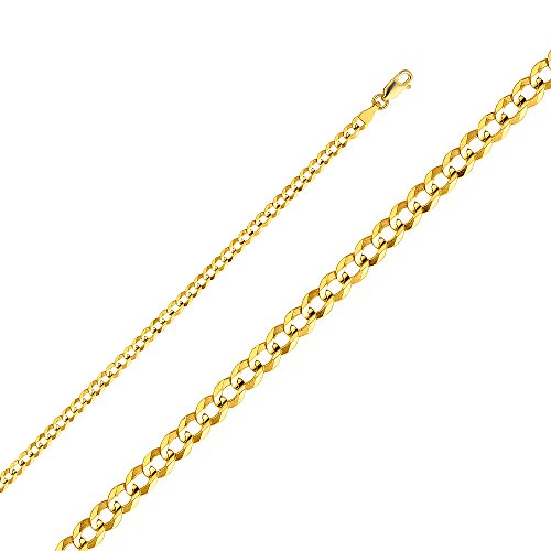 """Wellingsale 14k Yellow Gold SOLID 3.6mm Polished Cuban Concaved Curb Chain Necklace with Lobster Claw Clasp - 24"""""""