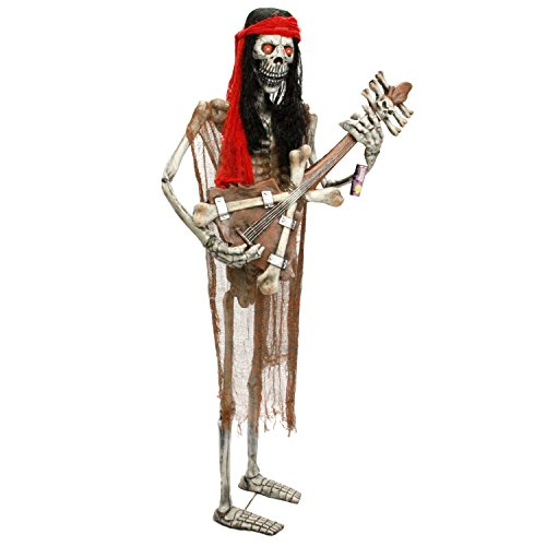 Halloween Haunters Life-Size Standing Skeleton Zombie Man Guitar Player Musician Rock Band Prop Decoration - Thick Rubber Latex (Zombie Items For Sale)
