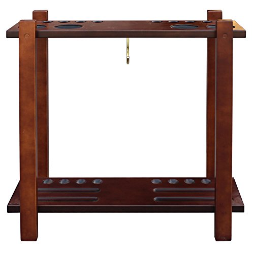 Hathaway Classic Floor Billiard Pool Cue Rack, Mahogany