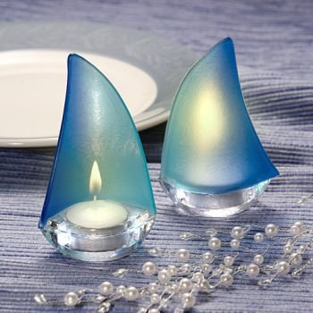 Glass Sailboat - Sailboat Design Candle Holder Favors (9 pieces)