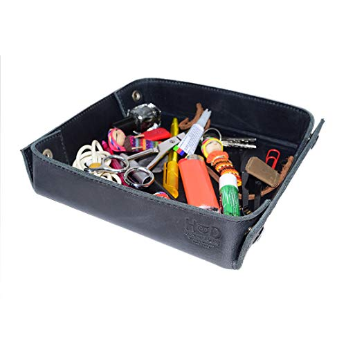 Hide & Drink, Leather Catchall Change Keys Coins Jewels Box Tray Big Storage Handmade Includes 101 Year Warranty :: Charcoal Black from Hide & Drink