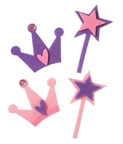 (Darice FLT-1024 Darice, 28 Piece, Felties Felt Stickers, Crowns and Wands with Gems,,)