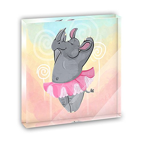 Ballet Plaque - Rhinoceros Ballerina Ballet Dancing Acrylic Office Mini Desk Plaque Ornament Paperweight