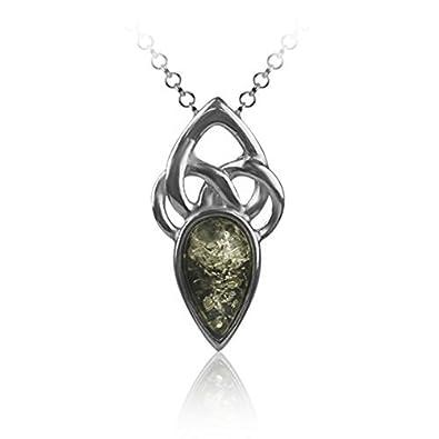 Green Amber Sterling Silver Celtic Pendant Rolo Chain 46cm frizgoG