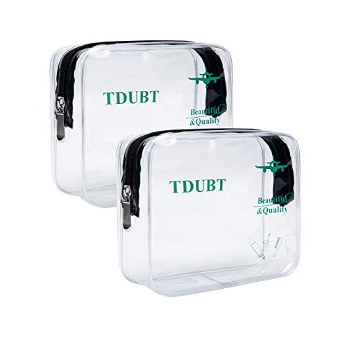 2pcs/Pack TSA Approved Clear Travel toiletry Bag | Quart Sized with Zipper bags | 3-1-1 Carry-On Airline Compliant Bag Packing Organizers