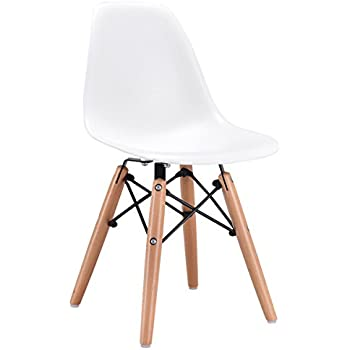 Costzon Kids Dining Chair, Modern Molded Shell Chair With Dowel Wood Eiffel  Legs (White
