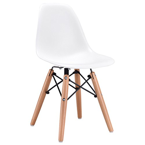 Costzon Kids Dining Chair, Modern Molded Shell Chair with Dowel Wood Eiffel Legs - Eiffel Wood