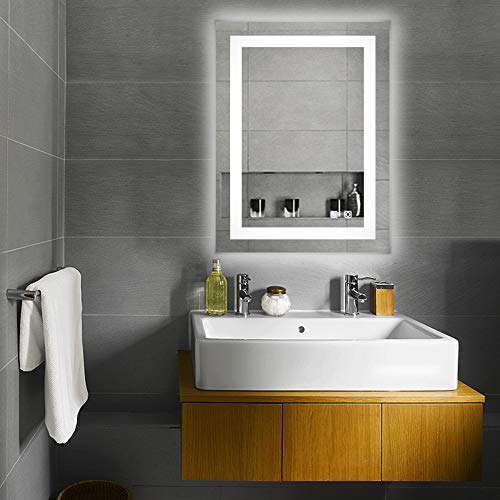 Bonnlo Led Dimmable Bathroom Mirror LED Lighted Wall Mounted Mirror for Bathroom - Mirrors Bathroom The For Large
