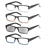 GAMMA RAY 4 Pairs Rectangular Spring Loaded Reading Glasses Sun Readers - 2.00x