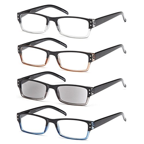 GAMMA RAY READERS Multiple Pairs of Classic Readers - Stylish Spring Hinge Reading Glasses w/ Sun - Ray Glasses
