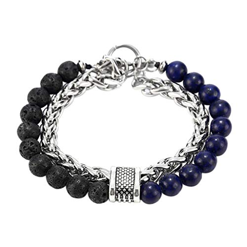 Little Story Men Fashion Clash Double Layer Bracelet Beaded Cuff Charm Bangle Bracelet 2019