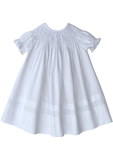 Carouselwear Girls White Smocked Dress Christening Baptism (White Smocked Bishop)