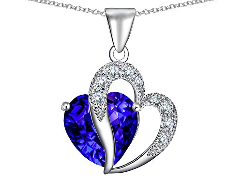 Star K Simulated Heart Shape Tanzanite Pendant Necklace Sterling Silver