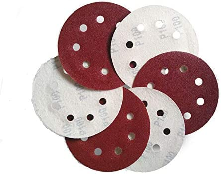 Lheng 5 Inch Dia 8 Hole 120 Grits Hook and Loop Sandpaper Sanding Disc Sheets Assorted 40Pcs