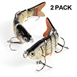 Scotamalone Fishing Bass Lures, 2 Pack, 6 Segment, Tackle 6# High Carbon Steel Anchor Hook, Lifelike Multi Jointed Artificial Swimbait, Hight Quality Hard Bait, 4Inches/0.68Oz
