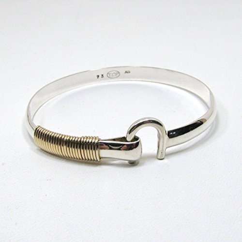 (St. Croix Hook Bracelet, Sterling Silver and 14K Gold Fill Hook Braclet 6 mm Wide, Island Love Bracelet)