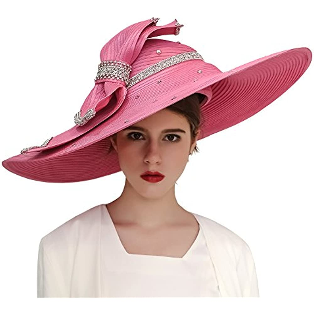 1e4db341c65 Kueeni Women Hats Church Hats Exaggeration Designer Fashion Lady Wide Brim  Hats (Pink) at Womens Clothing store