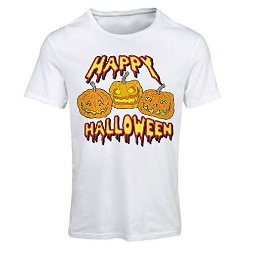 T Shirts for Women Happy Halloween! Party Outfits & Costume - Gift Idea (Large White Multi Color) ()
