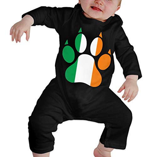 Long Sleeve Cotton Bodysuit for Baby Boys and Girls, Cute Ireland Dog Paw Crawler Black -