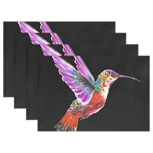 (DNOVING Kitchen Place Mats Hummingbird Bird Placemats Heat Insulation Stain Resistant for Dining Table Durable Non-Slip Kitchen Table Place Mats Set of 4)