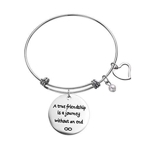 Sunflower Jewellery Stainless Steel Charm Cuff Bangle Bracelet A true friendship is a journey without an end Best Friend (Stainless Steel Sunflower)