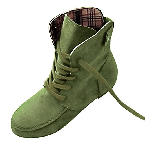 TOOGOO(R) Autumn Boots Snow Boots for Women Martin Boots Suede Leather Boots size12 green