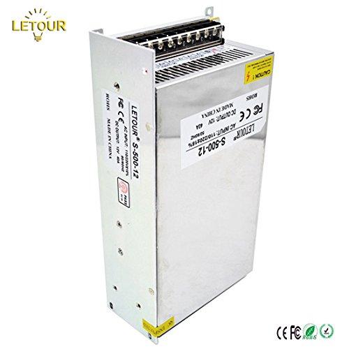 LETOUR DC 12V Power Supply 40A 500W AC 96V-240V Converter DC 12Volt 40Amp 500Watt Adapter LED Power Supply for LED Lighting,LED Strip,CCTV by LETOUR (Image #1)