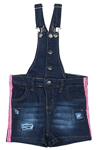dELiA*s Girls Bib Overall Denim Shorts with Adjustable Straps, Dark Side Stripes, Size 12'