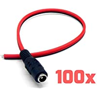 TNTE Female Red Black DC Wire Power Pigtails Adapter Plug Lead Cord Coax Cables CCTV Camera CCTV DVR Camera 10 inch 2.1 x 5.5mm (100 PACK)