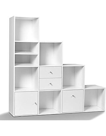 IDMarket - Meuble de Rangement escalier 4 Niveaux Bois Blanc avec Porte et  tiroirs 9d6773fecdc2