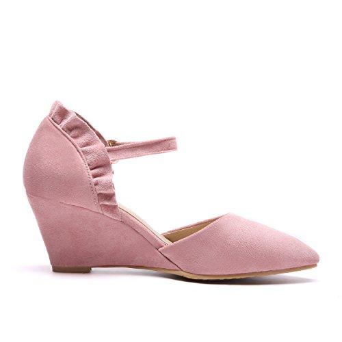 YE Damen Keilabsatz Ankle Strap Pumps Spitze High Heels mit Riemchen Elegant Schuhe