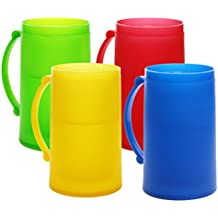Double Wall Color Frosty Freezer Mugs, 14oz, Set of Four, Assorted Colors (Red, Blue, Green, Yellow)