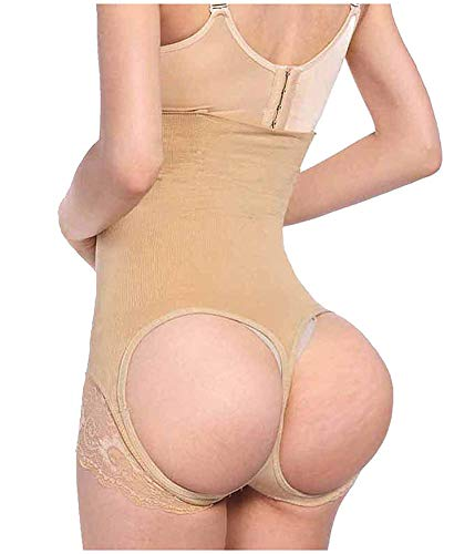 For What Reason Waist Trainer Control Panties Women Party Body Belt Shaper Tummy Control Pulling Underwear,Apricot,M (Slip Lace Powernet Corset)