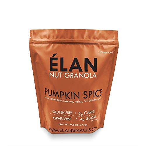 ELAN Pumpkin Spice Cookie Granola, Delicious Low Carb Dessert, Organic Cereal and Healthy Fall Nut Snack, Low Sugar Diet Gift (Cashew Hazelnut Pecan, 9.5 Ounce -