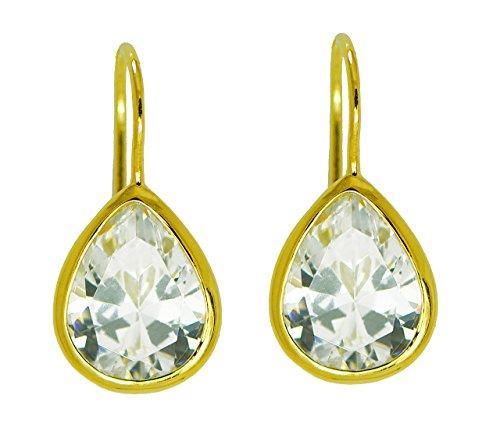 Bezel Set Clear CZ Teardrop Faceted Stone Drop Earrings .925 Sterling Silver Gold Tone Finish