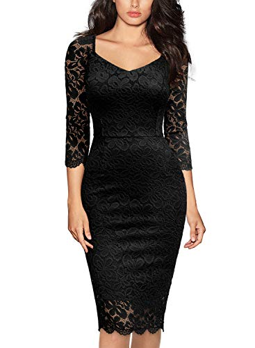 Miusol Women's Deep-V Neck Ruffles Floral Lace Fitted Retro Evening Pencil Dress (Large, G-Black)