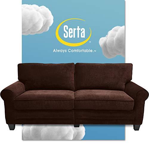 """Serta Copenhagen Sofas, Modern Living Room Couch, Microfiber - Upholstered, 73"""", Brown"""