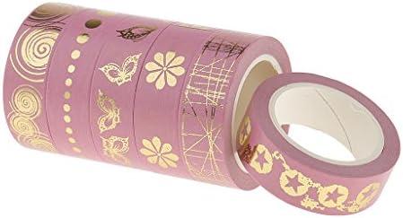4カラー 手芸用 和紙テープ マスキングテープ ペーパーテープ 粘着テープ 6個セット - ピンク