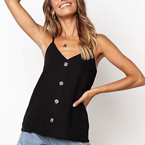 Blouse Casual Fashion Tops effen kleurknopen Sexy V hals Honda Vjgoal Mouwloos zomer shirt T Zwart HqROxw55