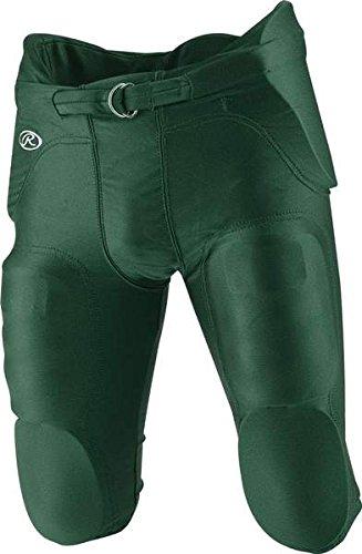 Rawlings Football Pants - Rawlings  Youth Integrated Football Pants, Dark Green, X-Small
