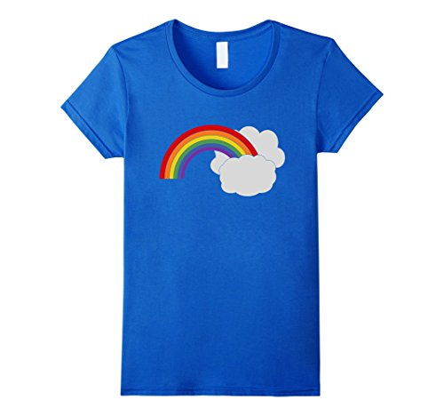 Womens Retro Rainbow Shirt Clouds 1980s Cute Hipster Punk Rave XL Royal - 1980's Retro Fashion