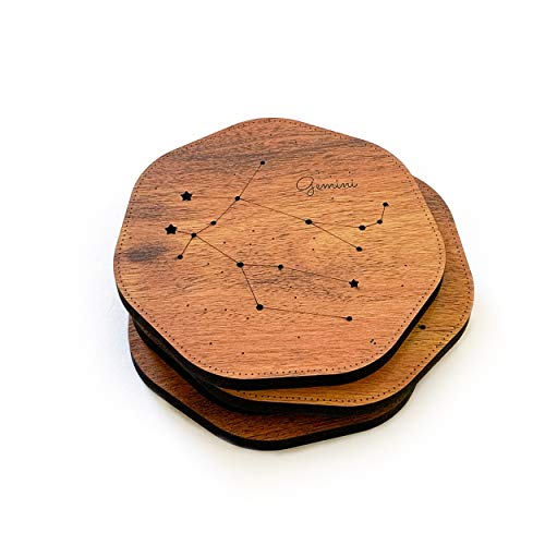 Townside Wooden Coaster (Set of 4) Constellation, Premium Tableware (Ursa Major, Ursa Minor, Aries, Gemini) Educational; Red (115 x 115mm) Price & Reviews