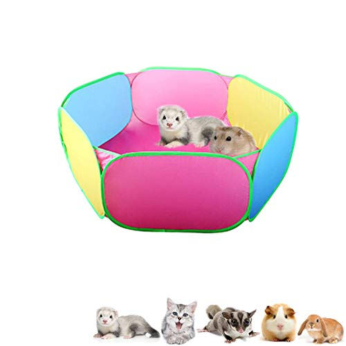 Anxyuan Hamster Foldable Playpen, Rabbit Pop Up Wire Yard Fence, Guinea-Pig Protable Hexagon Exercise Pen, Easy Pet Cage Tent Ideal for Cat, Chinchillas, Hedgehogs, Outdoor/Indoor
