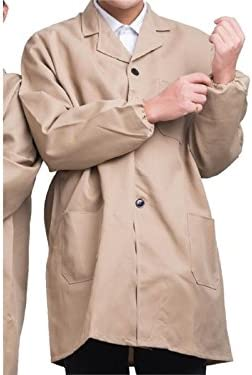 for Outdoor Garden Beige,Size:XL Rosetreee Functional Wear-resistant Warehouse Coat Apron with Button Adult Working for Men and Women
