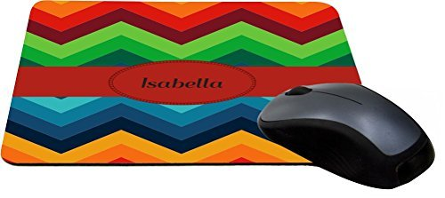 Rikki Knight Isabella Name on Fall Colors Chunky Chevron Design Lightning Series Gaming Mouse Pad (MPSQ-RK-45323) (Isabella Fabric)