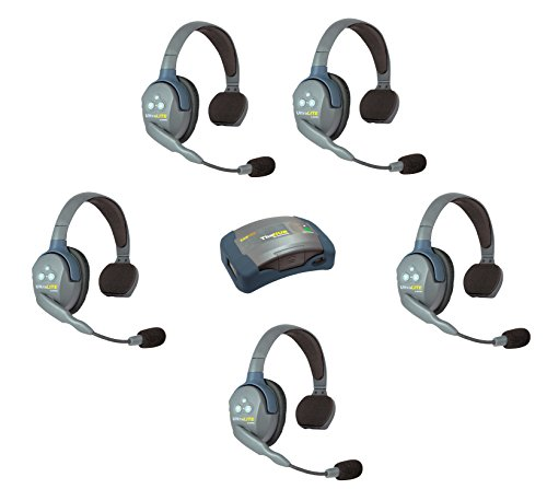 Eartec HUB5S - 5 Person System with 5 Single Wireless Communication Headsets and 1 HUB Mini Base Transceiver by Eartec
