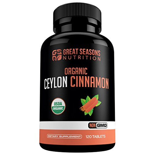 Certified Organic Ceylon Cinnamon for Blood Sugar Support, Metabolism Support, Antioxidant for Joint Health - 120 Cinnamon Tablets