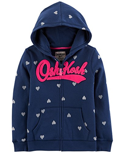 OshKosh B'Gosh Girls' Kids Full Zip Logo Hoodie, Navy Heart, 7